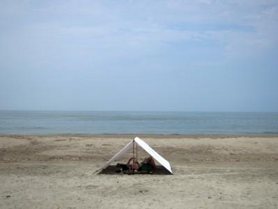自作タープ(海水浴)