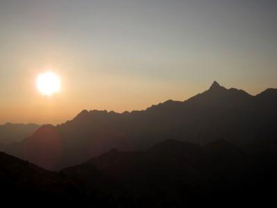 双六岳 朝日と槍