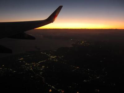 飛行機から見た夕日