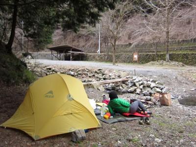 大岳山キャンプ場でテント